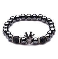 Мужской браслет из гематита с черной короной