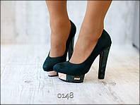Туфли женские на платформе и высоком каблуке Замшевые Зеленые