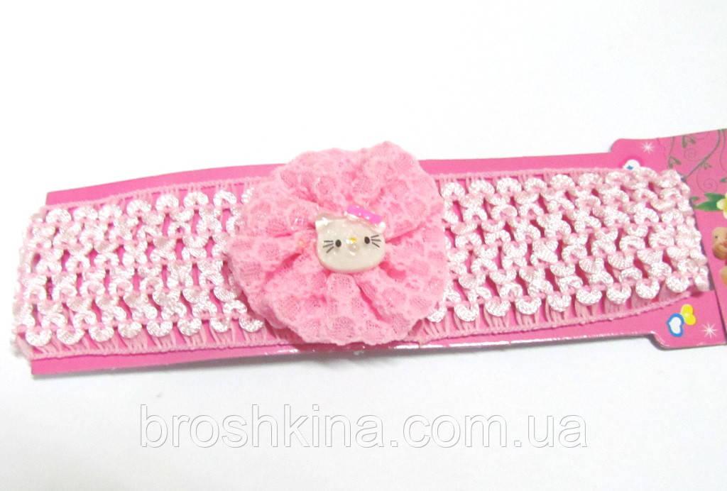 Детская повязочка на голову Китти розовая