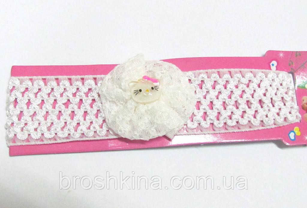 Детская повязочка на голову Китти белая