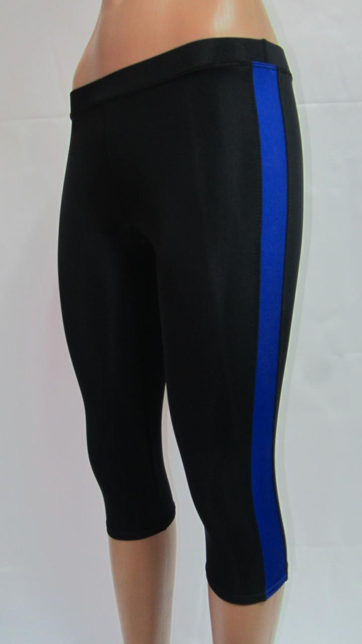 Женские леггинсы для фитнеса черные с синими лампасами
