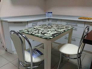 Стеклянный стол для кухни с рисунком ДКС Модерн зеркало Антоник, цвет на выбор, фото 2