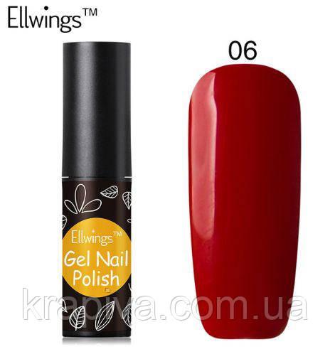 Гель лак Ellwings 06 темно красный, темно червоний