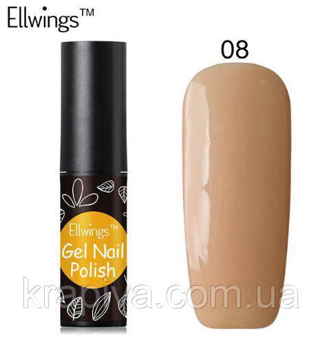 Гель лак Ellwings 08 телесный, бежевый, бежевий, натуральний, наткральный