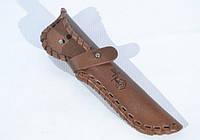 Кожаные ножны для ножа плетеные малые  с застежкой коричневые