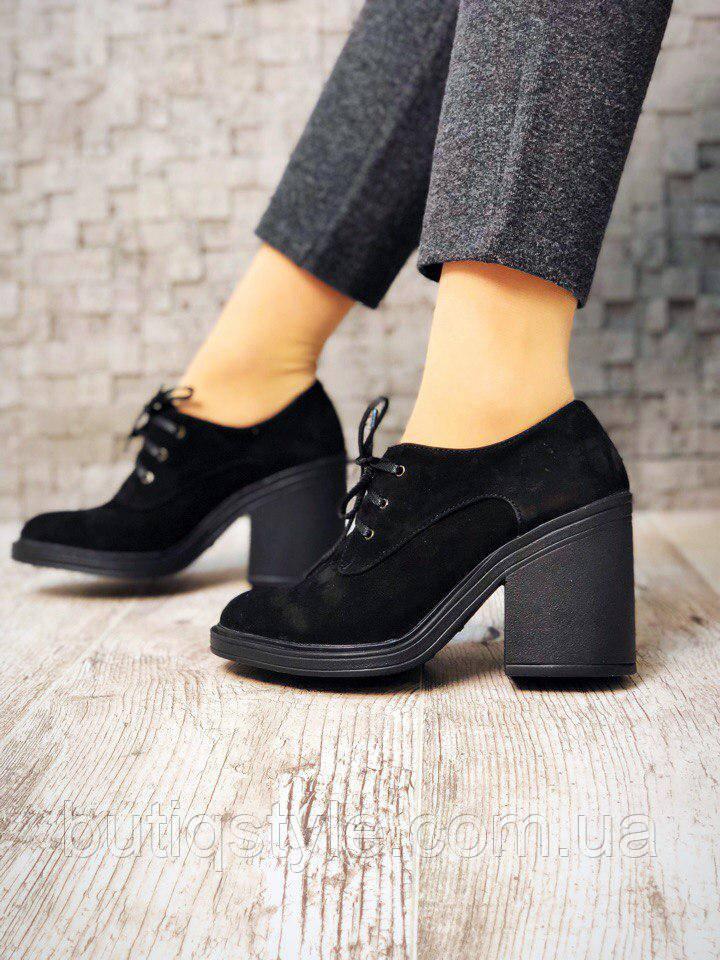 Красивые женские черные туфли натуральный замш
