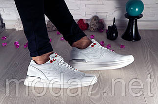 Кроссовки женские белые Nike нат. кожа реплика, фото 3