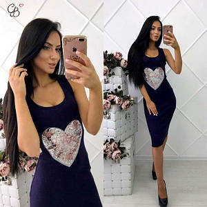Женское платье-резинка из стрейчевого трикотажа для лета с меланжевым эффектом 42-44 р Сердце