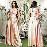 """Атласное макси платье выпускное, вечернее розовое """"Элен"""", фото 1"""