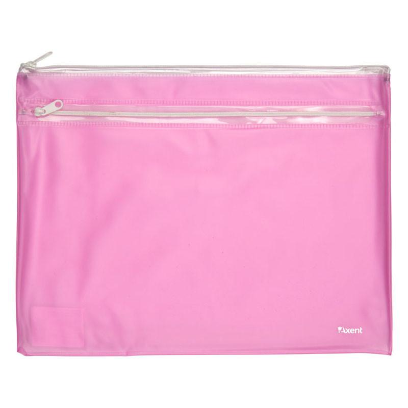Папка-конверт на молнии Axent А4 розовый 1427-10-A