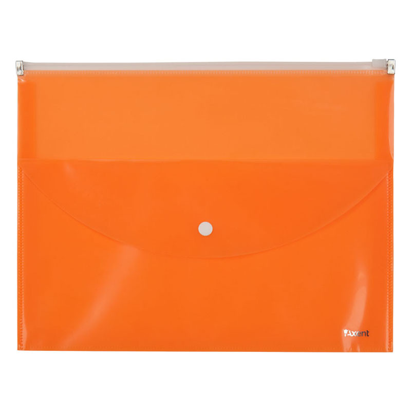 Папка конверт A4 Axent zip-lock на 2 отделения оранжевая 1430-12-A