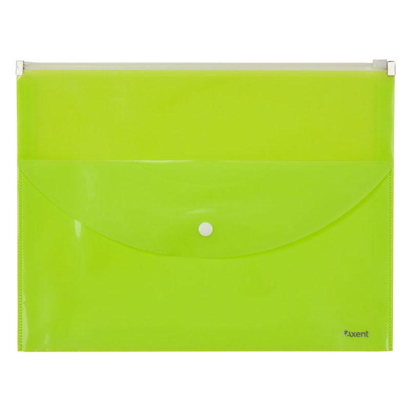 Папка конверт A4 Axent zip-lock на 2 отделения желтая 1430-08-A