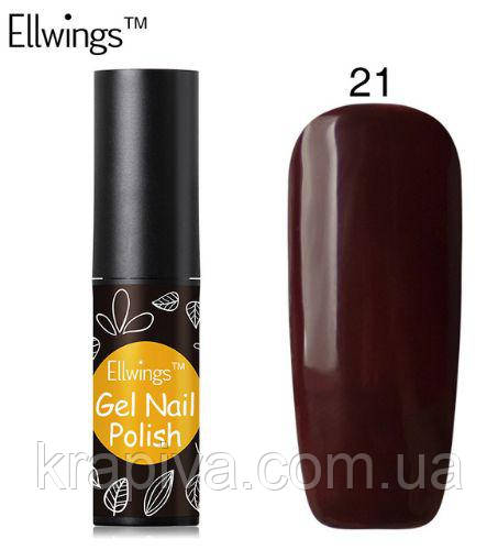 Гель лак Ellwings 21 шоколад, шоколадный