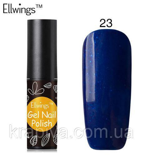 Гель лак Ellwings 23 синий, синій