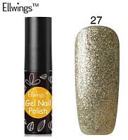 Гель лак Ellwings 27 золотой блеск, золотий блиск, золото