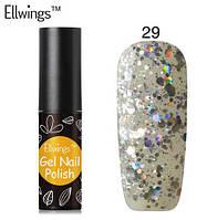 Гель лак Ellwings 29 серебро блеск, срібний блиск