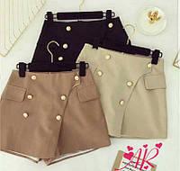 Короткие женские шорты на запах с золотыми пуговицами 42-46 р