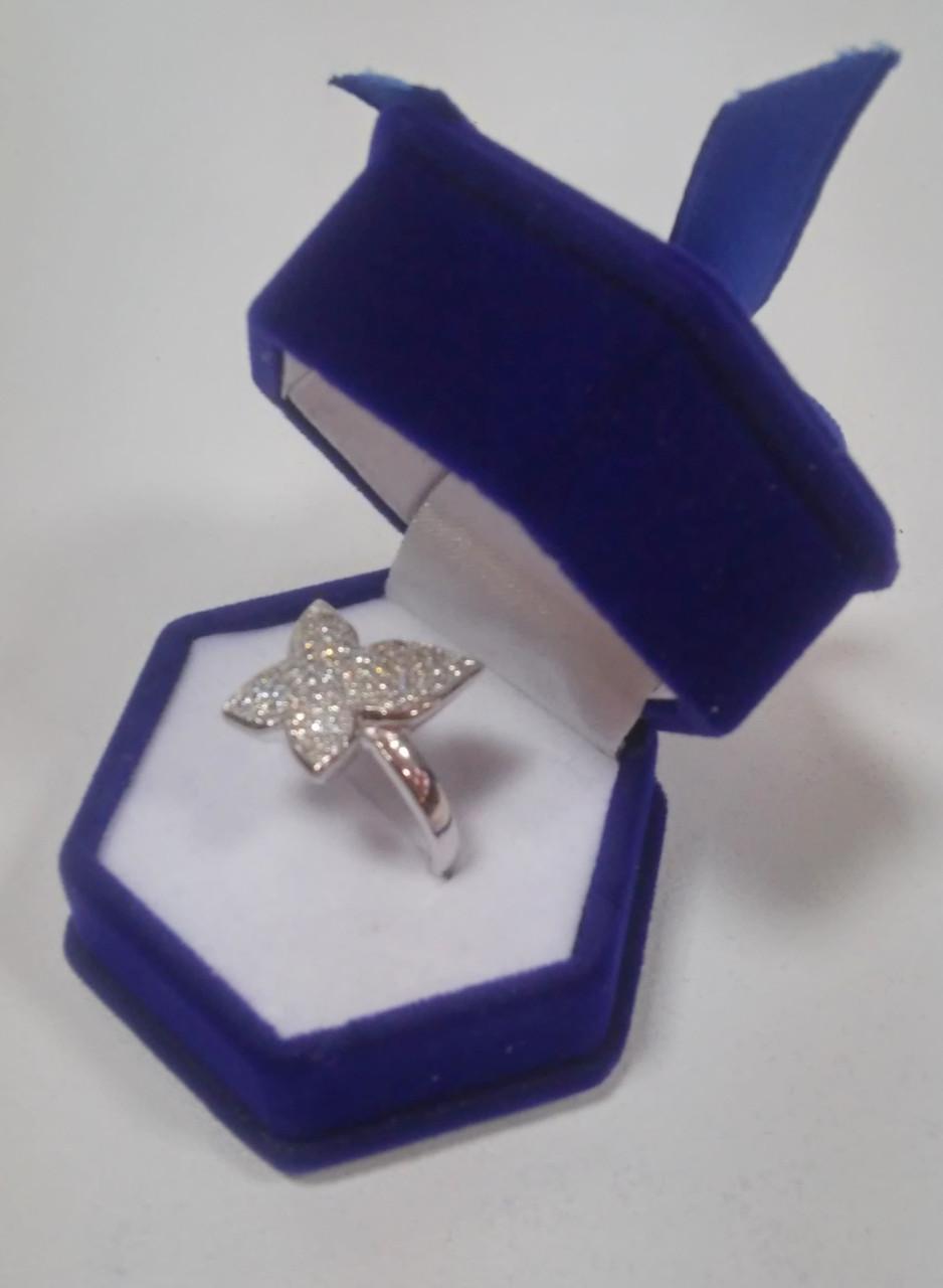 Футляр шестигранник с бантом для кольца синий бархатный 2014R