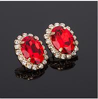 Серьги с красными камнями бижутерия Сережки