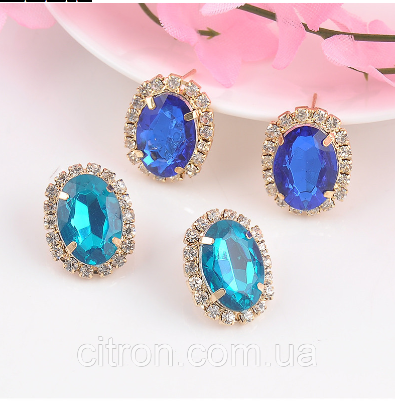 Серьги с синими камнями бижутерия Сережки