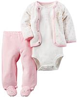 Махровый костюм-тройка с ползунками Carter's (США) для девочки от 0 до 9 месяцев