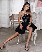 Выпускное короткое пышное платье с корсетом из пайеток (платье-бандо)