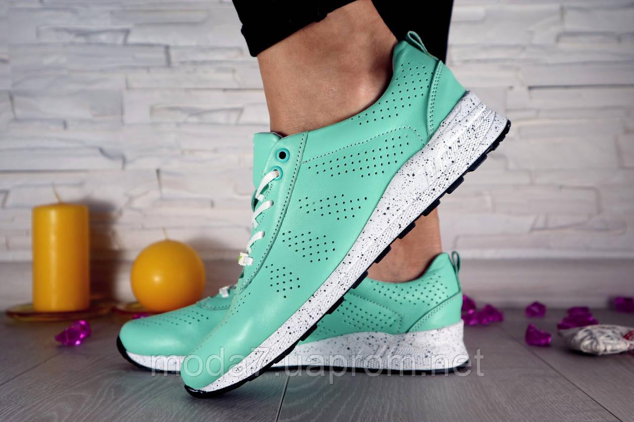 Кроссовки женские бирюзовые Nike нат. кожа реплика
