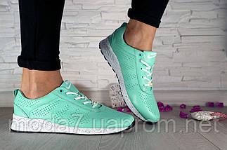 Кроссовки женские бирюзовые Nike нат. кожа реплика, фото 3