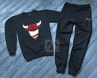 Спортивный костюм Чикаго Буллс мужской, брендовый костюм Chicago Bulls трикотажный (на флисе и без) копия