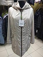 Женская демисезонная длинная куртка плащ больших размеров Mishele 52, 54, 56, 58 размер, осень весна