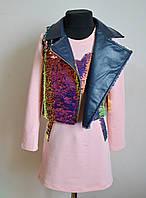 Детское платье с жилеткой и пайетками на девочку 4-5 лет