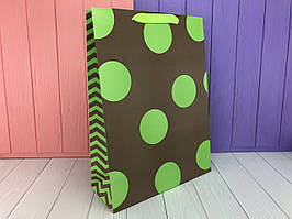 """Подарочный пакет """"Крупный горох"""" зеленый L (упаковка 12 шт)"""