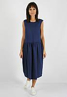 Синее платье миди из 100% льна , фото 1