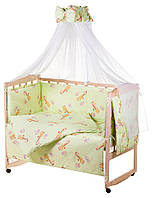 Детский постельный набор в кроватку 8 предметов. Жираф зеленый