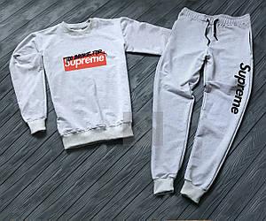 Спортивный костюм Supreme серого цвета (люкс копия)