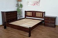 """Деревянная двуспальная кровать с мягким изголовьем """"Афина - 2"""""""
