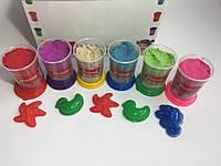 Кинетический песок в пластмассовой баночке 200 гр.+ пасочка 6 цветов в промобоксе