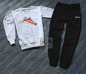 Спортивный костюм Supreme серого и черного цвета (люкс копия)