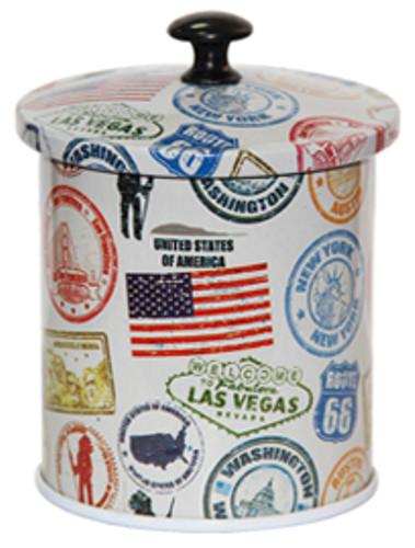 Жестяная банка для сыпучих Идея Америка, 7х6см, 50г ( баночка для чая и кофе )