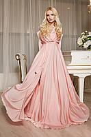 Длинное шелковое пышное платье в пол с разрезом