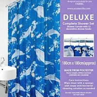 Шторки в ванную комнату 180х180,  Arya Dolphin с дельфинами
