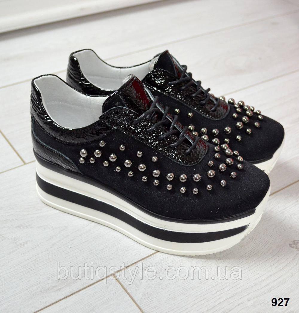 40 размер! Крутые женские черные кроссовки с бусинками натур замш + лак