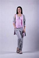 Пижама женская, комплект тройка с халатом.