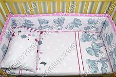 """Детское постельное белье в кроватку """"Карапуз"""" комплект 6 ед. Мишка подушка розовый"""