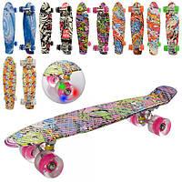 Скейт (Penny Board) пенни,56,5-15 см, алюм.подвеска,колеса ПУ свет,подш. ABEC-7,принт,