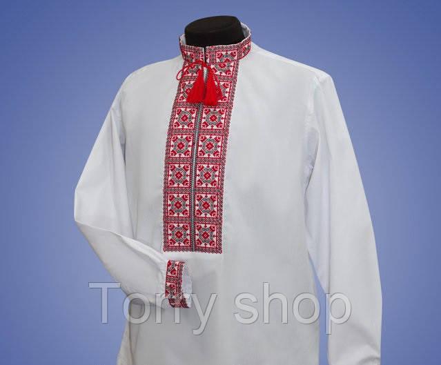 Мужская вышиванка  на белом батисте, с красивым узором