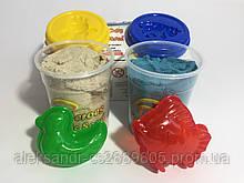 Кинетический песок 2 цвета по 200 гр.+ 2 пасочки 6 цветов микс