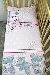 Детское постельное белье в кроватку, постельный комплект Мишка подушка розовый