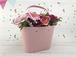 """Коробка для цветов """"Сумка"""" розовая"""