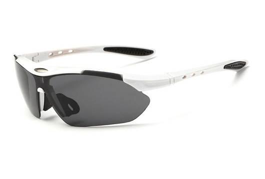 Спортивные очки поляризационные с тремя линзами белые Rbworld